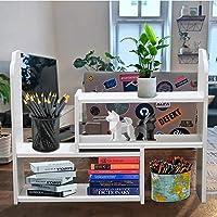 デスク上置き棚 オフィス装飾アクセサリー用 子供 自由自在伸縮可スッキリ整理整頓 ホワイト 卓上棚 汎用性 本の保管 3…