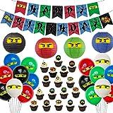 Ninja Birthday Party Supplies Decorations - Ninja Happy Birthday Banner 24 Cupcake Toppers Ninja Balloons Stickers for Boys N