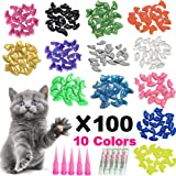 YMCCOOL 140pcs Cat Nail Caps Pet Cat Kitty Soft Claws Covers Control Paws of 7 Shinning Glitter Crystal Colors Nails Caps and