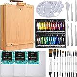 MEEDEN 47 Pcs Acrylic Painting Set - Solid Beech-Wood Studio Sketch Box Easel, 24×12ML Acrylic Paints, Canvas Panels, Acrylic