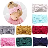 HOME-MART 8 Pack Baby Girl Nylon Bow Headbands Elastic Head Band Hairbands Newborn Soft Head Wraps Turban Knot Hair Hoops for