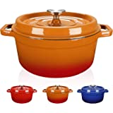 WISELADY Enameled Cast Iron Dutch Oven Bread Baking Pot with Lid (3QT, Orange)