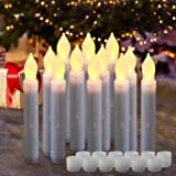 "Homemory 6.9"" LED Battery Operated Taper Candles, Flickering Flameless Tapered Candlesticks, Set of 12 Dripless Warm White LE"