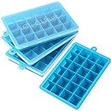 ALEC 製氷皿 (シリコン/ふた付き) 製氷機 家庭用 アイストレー (四角氷 / 24個取り) ブルー 4個セット