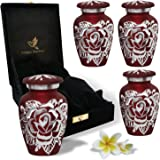 Red Rose Urn Keepsake - Handcrafted Small Rose Urns for Human Ashes - Mini Urn Set of 4 with Premium Velvet Box & Bags - Hono
