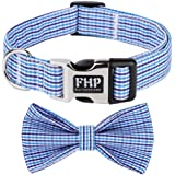 Fourhorse Cute Soft Dog with Bowtie, Detachable Adjustable Bow Tie Collar Pet Gift (XS, Blue Grid)