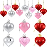 Partyprops 24Pcs Valentine's Day Heart Shaped Ornaments | Valentines Heart Decorations | Red Pink Silver Heart Shaped Baubles