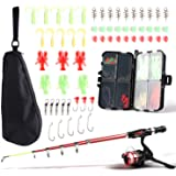 SupsShop Kids Fishing Rod and Reel Combo Full Kit,1.3M/1.6M Telescopic Fishing Pole Fishing Gear Spinning Reel with Carrier B