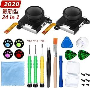 【2020年最新型】Switch NS Joy-con対応 24in1修理キット 交換部品 3Dセンサーアナログジョイスティック 右/左 コントロール R/L 2個 交換部品用 ニンテンドースイッチ ジョイコン修理用 修理ツール付 猫の爪 肉球 親指キャップ4個付き
