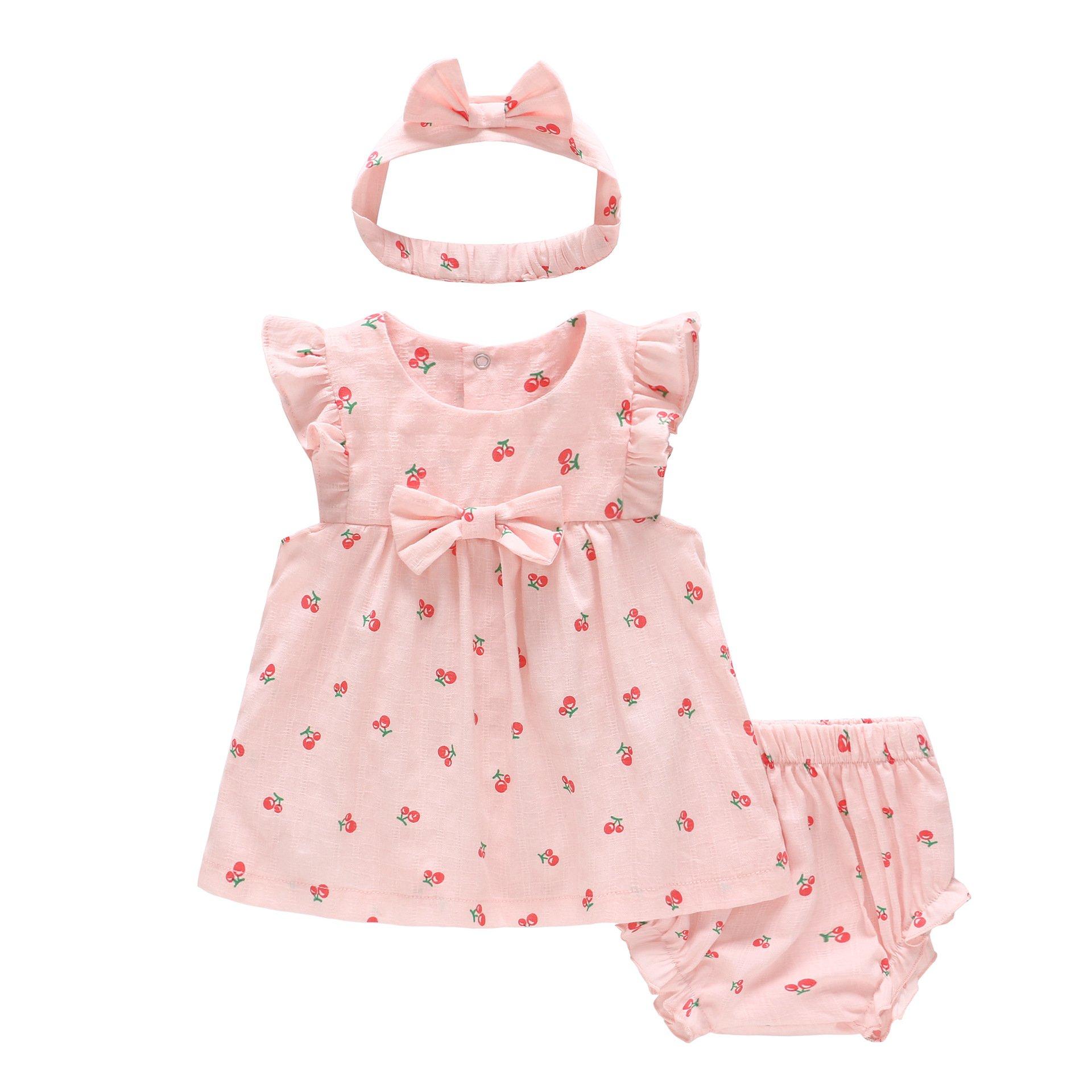 eb91d989e3aba Feidoog Baby Clothes Romper Shorts Headband Top and Bottom 3 Piece Set  Newborn Baby Girl Princess Ribbon Ruffle Cute Dress Cotton Baby Shower  Birthday ...