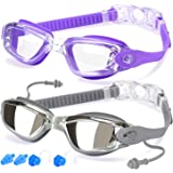 Swim Goggles, Pack of 2, Swimming Goggles for Adult Men Women Youth Kids Child, Triathlon Equipment, with Mirrored & Clear An