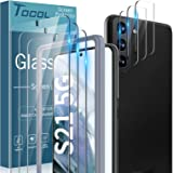 TOCOL 4 Pack Compatible with Samsung Galaxy S21 5G 6.2 inch - 2 Pack Tempered Glass Screen Protector and 2 Pack Camera Lens P