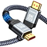 8K@60HZ HDMI Cable,Highwings 6.6FT/2M 48Gbps High Speed HDMI 2.1 Braided Cord-4K@120Hz 7680P,DTS:X,HDCP 2.2 & 2.3, HDR 10,eAR