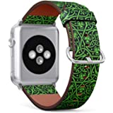 (Irish Celtic Pattern with Shamrock) Patterned Leather Wristband Strap for Apple Watch Series 4/3/2/1 gen, for iWatch 38mm /