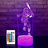 JMLLYCO Baseball Night Lights for Kids Baseball Gifts 16 Colors Change with Remote Control 3D Optical Illusion Baseball Decor