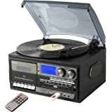 とうしょう 多機能 レコードプレーヤー コンパクト (AM/FMラジオ (ワイドFM対応)) 録音機能 再生機能 USB/SD CD カセットテープ グレー TCD-114(GR)