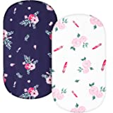 TILLYOU Microfiber Floral Bassinet Sheets for Girls, 33''x16''x4'' Flexible for Different Cradle and Bassinet Mattress, Silky
