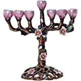 YU FENG 7 Branch Hanukkah Menorah Candle Holders Tree of Flowers Antique Menorah Candlestick Holder