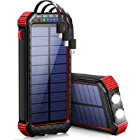 【30000mAh & 3ケーブル內蔵 & PSE認証済】 ソーラー モバイルバッテリー 大容量 急速充電 4臺同時充電…