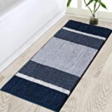 """Non-Slip Bath Rug Runner Extra Long Bathroom Rug 47""""x 17"""" Navy Bathroom Rugs Thick Shaggy Bathroom Runner Soft and Absorbent"""