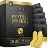 24K Gold Eye Mask– 15 Pairs - Puffy Eyes and Dark Circles Treatments – Look Less Tired and Reduce Wrinkles and Fine Lines Und