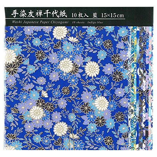 エヒメ紙工手染友禅千代紙15cm10枚 藍 TZM-5015A 2個 エヒメ紙工