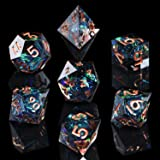 AUSPDICE DND Dice Set Handcrafted Designer 7-Die Polyhedral RPG Dice Set with Sharp Edges and Beautiful Inclusions for Aesthe
