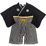 袴 ロンパース 男の子 ベビー 赤ちゃん はかま 和装 カバーオール フォーマル TM001 ブラック 60cm