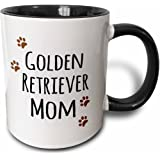 3dRose Golden Retriever Dog Mom - Doggie by Breed - Brown paw Prints - Doggy Lover - Proud pet Owner Love - Two Tone Black Mu