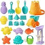 Kids Beach Sand Toy Set, 20pcs Sandbox Toys Sand Castle Bucket Beach Shovel Rakes Sand Truck Water Wheel with Mesh Bag for To