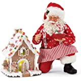 Department 56 Possible Dreams Santa Christmas Traditions Gingerbread House Kit Lit Figurine Set, 8.5 Inch, Multicolor