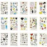 Xcellent Global 15 Sheets Body Art Temporary Tattoos Animals, Butterflies, Flowers, Hearts Waterproof Tattoo Sticker for Girl