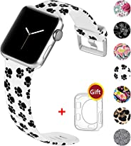 Laffav Pattern Band Compatible with Apple Watch 44mm 42mm 40mm 38mm for Women Men with Case, Soft Sport Printed Strap Replace
