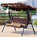 Yuehuam Patio Swing Cushion Cover Set, Canopy Top Cover+Swing Cushion Cover,Courtyard Garden Swing Seat Cover Replacement 3-S