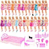 Barwa 33 Items = 20 Clothes Dresses + 1 Bed + 1 Dressing Table + 1 Chair + 5 Hanger + 5 Accessories for 11.5 Inch 30 cm Doll