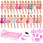 Barwa 33 Items = 20 Clothes Dresses + 1 Bed + 1 Dressing Table + 1 Chair + 5 Hanger + 5 Accessories for Barbie Doll
