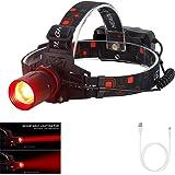 最も明るい赤灯ヘッドランプ、 USB充電式ヘッドライト、ズーム可能 赤色LED ハンティングライト、防水 赤い光 ヘッド懐中電灯 USBケーブル付き 狩猟 夜釣り 天文学 天体観測 夜間の撮影用 (18650電池は含まれていません)