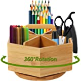 Marbrasse Bamboo Desk Organizer, 360-Degree Rotating Pen Holder with 6 Compartments for Art Supply, Desktop Stationary Organi