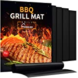 Aoocan Grill Mat Set of 5-100% Non-Stick BBQ Grill & Baking Mats - FDA-Approved, PFOA Free, Reusable and Easy to Clean - Work