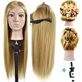 """ErSiMan 26""""- 28"""" Mannequin Head 100% Synthentic Fiber Hairdresser Training Head Cosmetology Manikin Doll with Free Table Clam"""