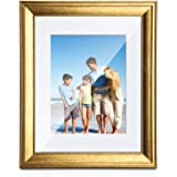 TWING 8x10 Picture Frames Gold with Mat Solid Wood HD Plexiglass Display 5x7 Picture with Mat or 8x10 Photo Without Mat for T