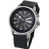 [ラドウェザー] 電波ソーラー腕時計 メンズ 100m防水 腕時計 lad017 (ブラック)