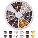 Pandahall Elite 1 Box 6 Colors 2mm Round Brass Tube Crimp Beads for Jewellery Making
