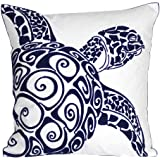(Navy-sea Turtle) - Embroidered Cute Nautical Animal Pillow Covers,Square 46cm Decorative Canvas Pillow Cover For Nautical St