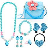 Hifot Kids Jewelry Little Girls Plush Handbag Necklace Bracelet Earrings Ring Hair Clips Set, Princess Costume Jewelry Party