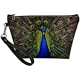 Bigcardesigns Travel Make-up Bags Peacock Print Zipper Organizer Cosmetic Purse Waterproof PU Leather Toilet Pouch Personalit