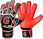 Gonex GK Goalie Gloves Soccer Goalkeeper Gloves with Fingersave Spines, Youth & Adult Pro-Level Gollies Golly Gloves, Roll Cu