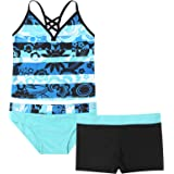 Choomomo Kids Girls Floral Printing Tops with Shorts Bottoms 3 Pieces Tankini Set Swimsuit Bathing Suit