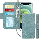 iPhone 12 ケース iPhone12 Pro ケース 手帳型 6.1インチ Skycase 5G スマホケース [Qi ワイヤレス充電対応] ハンドメイド 型押し 高級PUレザー 手帳型 カード収納 スタンド機能 サイドマグネット式 ストラッ