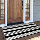 OJIA Cotton Black and White Striped Rug 24'' x 51''Hand-Woven Indoor/Outdoor Area Rug Layered Door Mats for Front Porch/Entry